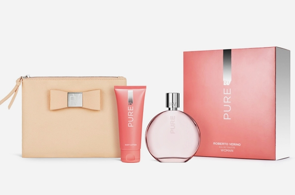 SET VERINO PURE WOMAN EDT 120 ML  + BODY LOCION 50 ML + BOLSO