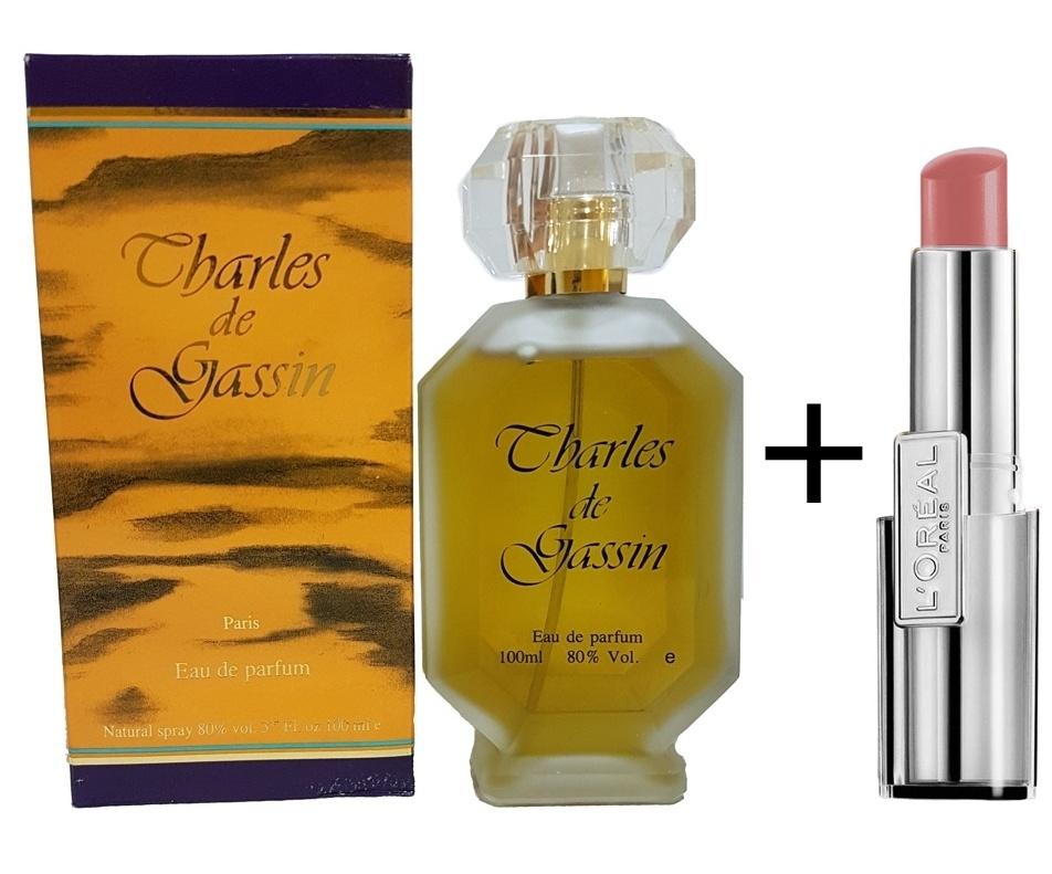 CHARLES DE GASSIN FEMINA EDP 100 ML REGULAR + LOREAL BARRA DE LABIOS CARESSE 03 LOVELY ROSE REGULAR