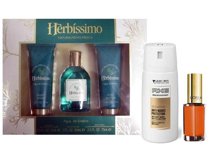 SET HERBISSIMO AGUA DE ENEBRO DE 60 ML + BODY LOCION DE 75 ML + GEL DUCHA DE 75 ML REGULAR Y DE REGALO UN DEO AXE ANTI-MARKS PROTECTION 48 HORAS 35 ML + LOREAL COLOR RICHE PINTAUÑAS 5 ML