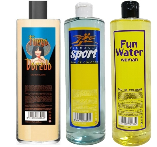 PACK FUEGO DORADO EDC 500 ML  + FUN WATER EDC 500 ML + VIGOROSO SPORT EDC 500 ML