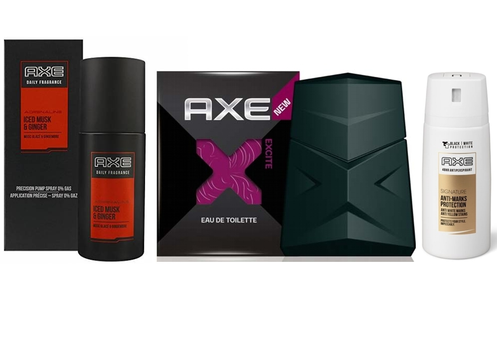 SUPER PACK: AXE EXCITE EDT 100 ML @ + AXE FRAGANCE ADRENALINE BODY VAPORIZADOR EDT 100 ML @ + AXE SIGNATURE ANTI-MARKS PROTECTION 48 HORAS DEO SPRAY 35 ML REGULAR