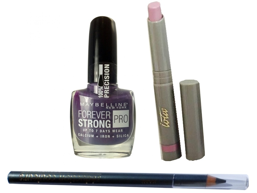 PACK 3 PRODUCTOS: PINTAUÑAS MAYBELLINE FOREVER STRONG N 250 VIOLET ORAGE + LIPSTICK IOTA 711 LILA + LAPIZ OJOS SEDUCTION COULEURS GRIS 1F1