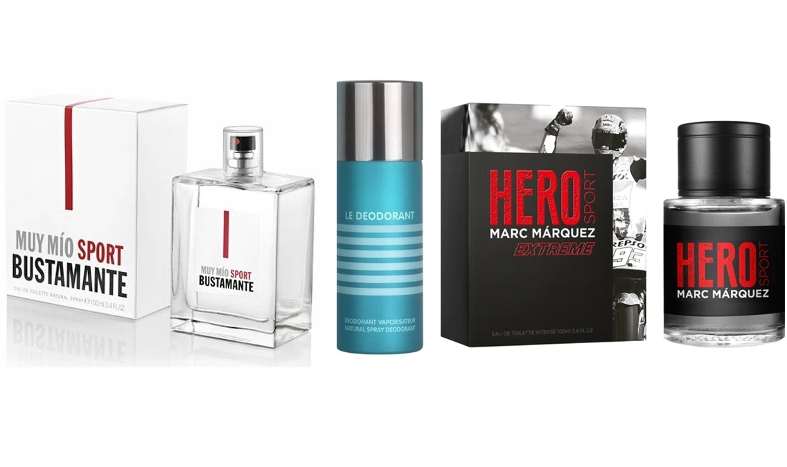 PACK JPG LE MALE DESODORANTE SPRAY 150 ML  + BUSTAMANTE MUY MIO SPORT EDT 100 ML @ + MARC MÁRQUEZ HERO SPORT EXTREME EDT 100 ML @