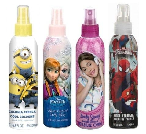 PACK 4 FRAGANCIAS INFANTILES DE 200 ML FROZEN 200 ML + MINIONS 200 ML + VIOLETA 200 ML + SPIDERMAN 200 ML