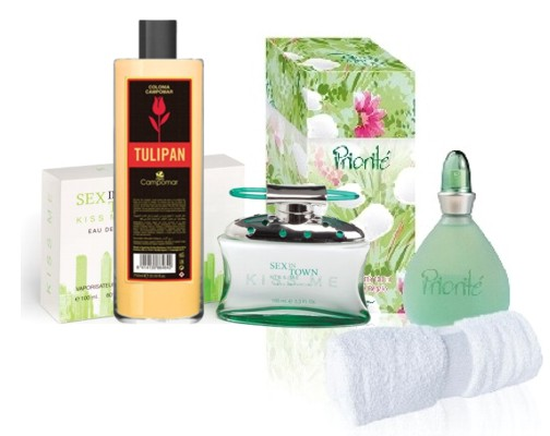 PACK SET CAJA PRIORITE EDT 100 ML REGULAR + TOALLA + SEX IN THE TOWN KISS ME EDP 100 ML REGULAR +  CAMPOMAR TULIPAN COLONIA 500 ML REGULAR (Sin caja)