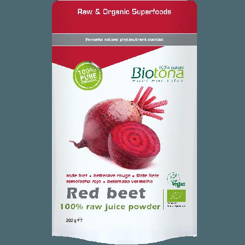 BIOTONA RED BEET RAW POWDER (ZUMO DE REMOLACHA ROJA EN POLVO) 200 GRAMOS REGULAR
