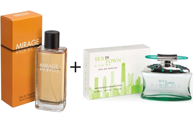 PACK SEX IN THE TOWN KISS ME EDP 100 ML REGULAR + MIRAGE EDT 100 ML REGULAR